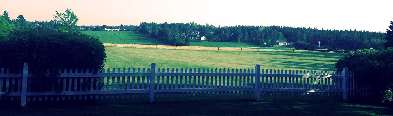 picket fence, field and farm